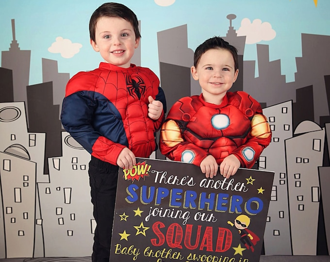 Every Superhero Needs a Sidekick Chalkboard Sign / Superhero Joining Our Squad Sign / Pregnancy Announcement Sidekick Sign / Digital File