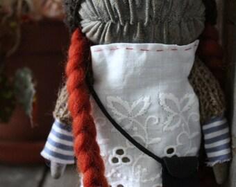 Sandra redhead girl monster stuffed art toy rag doll creature extrime primitive beige brown