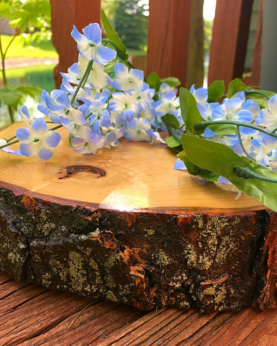 Wood slab centerpieces wedding