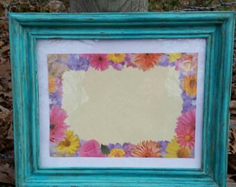 Painted and Distressed Aqua Picture Frame, 8x10 Aqua Picture Frame, Aqua Frame