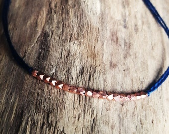 bracelet pink gold vermeil on blue coton wire - Friendship - wish bracelet - wedding and layering bracelet
