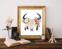 Tribal bull, Tribal dorm, Boho dorm, Bull art print, Floral skull, Printable women gift, Tribal wall decor, Tribal wall hanging, Tribal room