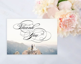 Custom Photo Wedding Thank You Card, Calligraphy Thank You Card, Wedding Thank You Card Photo