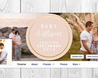 Digital Pregnancy Announcement, Facebook Timeline Cover, Baby Announcement Timeline Photo, Pink Gold