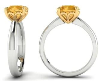 ON SALE 10% OFF! Citrine Dress Ring, Dahlia Ring