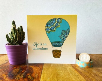 Hot Air Balloon Blank Greeting Card, Everyday Card, Thank You Card, Birthday Card, Good luck Cards, Adventure, Travel, Stationery