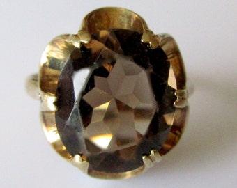 9ct Gold Smokey Quartz Ring UK Size L1/2