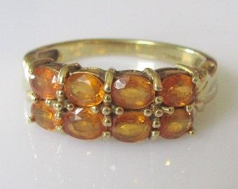 9ct Gold Citrine Eight Stone Ring