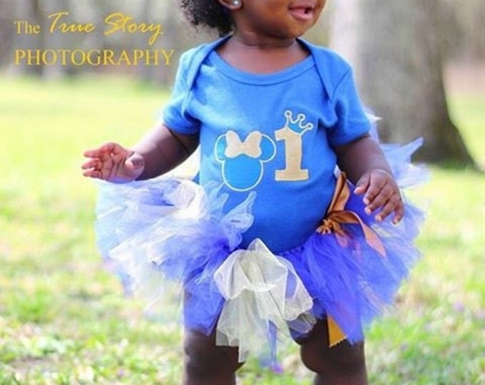 Minnie Mouse Baby girl first birthday outfit, baby girl 1st birthday outfit, First birthday bodysuit, blue and gold tutu, personalized bib