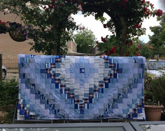 Blue patchwork blanket