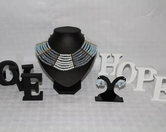 Egyptian goddess crystal necklace/earrings