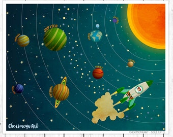 The Solar System Nursery Decor Children Print Space Wall Art Rocket Ship Print Outer Space illustration Toddler Gift