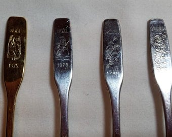 Collector spoons, Annual NOEL series, set of 4, Christmas, 1975, 1978, 1980, 1981, Canada