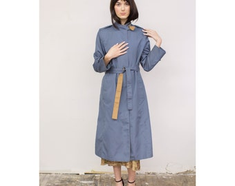 Vintage Slate Blue & Tan Long Belted Trench Coat 1970s 70s Minimalist Grey Blue Rain Coat S Sm Small by Misty Harbor