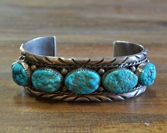 Vintage Navajo Sterling Silver And Turquoise Men's Cuff Bracelet