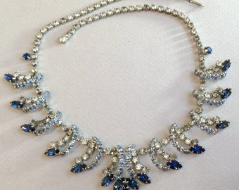 Beautiful Blue and Clear Rhinestone Necklace