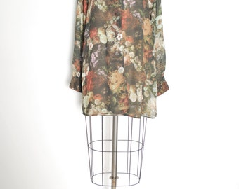 vintage 90s blouse sheer floral photo print over sized grunge goth blouse top shirt 1990s clothing
