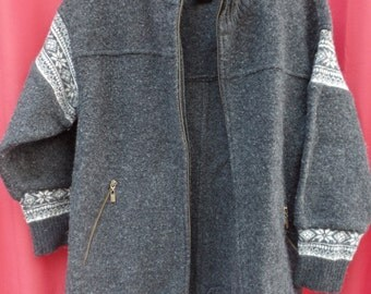 vintage NORDIC DESIGNS 100% wool black/gray sweater cardigan - men's MEDIUM M -