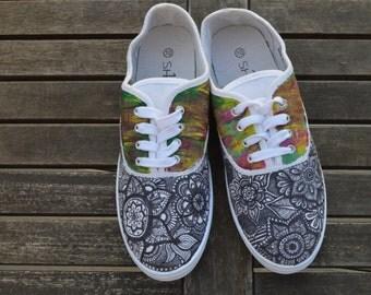 Custom Mandala Canvas Sneakers Size 10