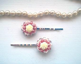 Orange hair pins beaded hair pins beaded hairpins floral bobby pins vintage bobby pins bridal hair pins yellow hairpins beaded bobby pins