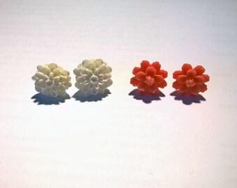 Red flower earrings red flower earings white flower earings white flower earring floral earings two pairs earrings flower ear studs red ear