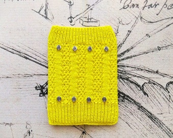 Yellow Knitted Amazon Kindle Book Cover Decorated With Metal Disc Beads, Case, Pouch, Tablet & E-Reader Case, Electronic Case