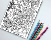Adult Coloring Page Instant Download - Zentangle Doodle Design, hand drawn by the artist - Print at home