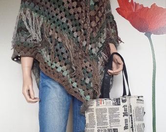 Handmade crochet poncho in mint - brown colour, women's clothing, gift for her by RedWings