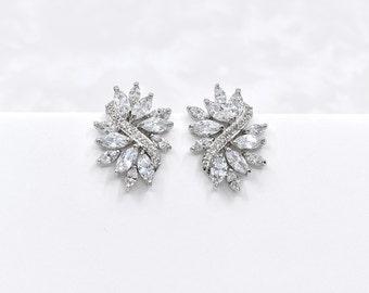 Wedding Earrings Cubic Zirconia Earrings Bridal Crystal CZ Earrings Bridal Jewelry Floral Wedding Earrings