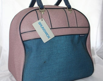 "Blue Teal and Mauve Brunswick Bowling Ball Bag -- All Around Zipper -- Metal/Wood  Ball Holder, Canvas, Tag -- 14"" x 9"" x 13"""
