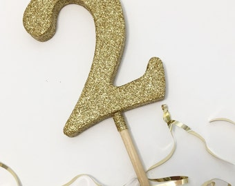 "3.5"" Gold Glitter Cake Topper Number"