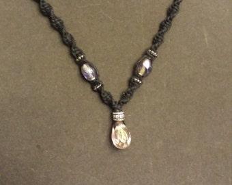 Purple tear drop hemp necklace