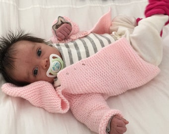 Hand-knitted garter stitch baby cardigan