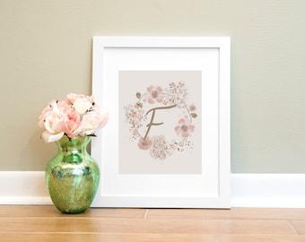Letter Print F, Monogram Letter F Wall Art Printable, Nursery Art, Home Decor Printable Wall Art, Pink and Brown Letter Print, Floral Print