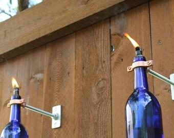 6 Cobalt Blue Wine Bottle Tiki Torches // Gift for Mom // Mother's Day gift  // Fiberglass Wick // Copper