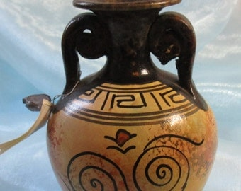 Hand Made in Greece,Small Brown and Tan Bud Vase Replica of Greek 500BC Vase, Reproduction
