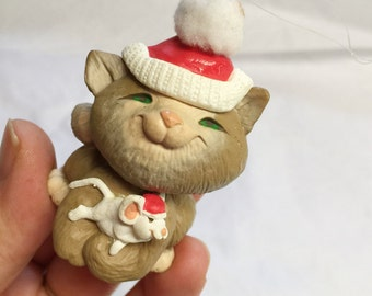 Christmas KItty with Mouse Ornament - CUTE! - Cat and mouse holiday ornament