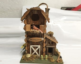 Rustic 'Barnyard' Bird house decorative log birdhouse