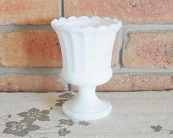 1950s vintage milk opaque glass baluster vase, mid century home decor, 15cm tall