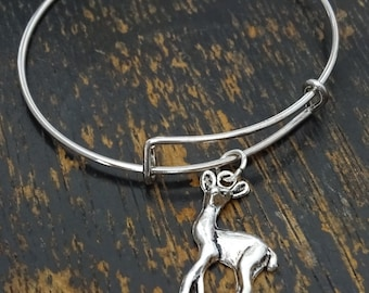 Deer Bangle Bracelet, Adjustable Expandable Bangle Bracelet, Deer Charm, Deer Pendant, Deer Jewelry, Fawn Bracelet, Fawn Charm, Fawn Pendant