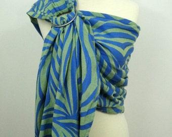 READY TO SHIP- Fidella wrap conversion ring sling - Sherba green - 100% cotton - Blue, green, lime