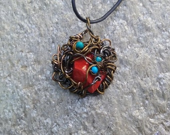 "Wire Jewelry, Pendant, Handmade- Magnesite, Glass, Bronze, Hematite, Design, Pendant Necklace (L- 18"")"