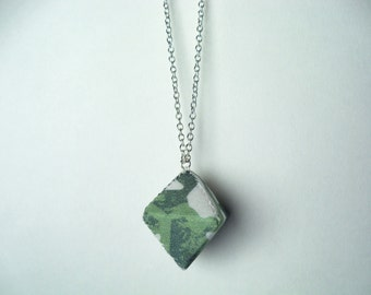 Small Diamond Necklace - Green and White