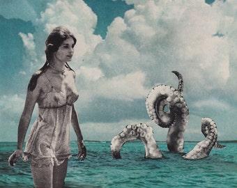 Sea Creature  - Collage Art, Cut and Paste, Paper Collage, Surreal Art, Vintage Ephemera, Art Print, Home Decor