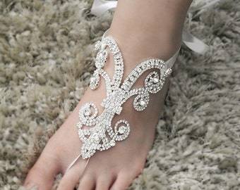 Wedding Barefoot Sandals, Bridal Foot Jewelry, Silver Rhinestone Foot Jewelry, Footless Sandal-SD003