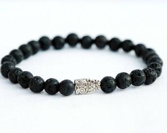 owl Bracelet 6 mm Bead Bracelet Women Black Bracelet Healing bracelet Black lava bracelet Healing Jewelry owl Jewelry Lava rock bracelet