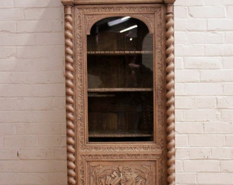 Antique French Hunt Cabinet, Bookcase SPECIAL Bleached Finish 19th Century #5867