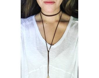 Double Wrap Choker / bolo tie / Leather Lariat Necklace + Charm / Boho / Bohemian Jewelry