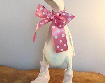 Small Wooden Pink Spotted Boot Duck