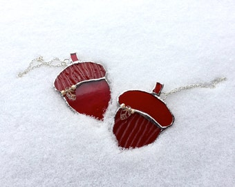 Stained Glass Complimentary Red and Colored Acorns - sold in pair